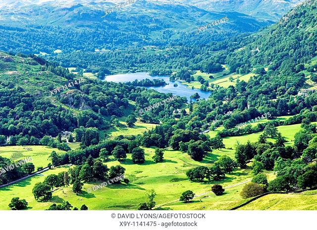 West over Rydal Water between Grasmere and Ambleside in the Lake District National Park, Cumbria, England, UK
