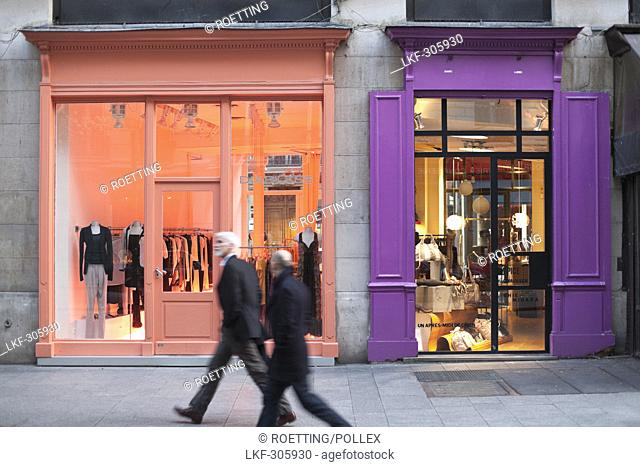 People and fashion stores at Rue Montorgueil, 2nd Arrondissement, Paris, France, Europe