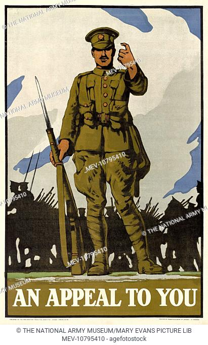 An Appeal to You. Colour photolithograph recruitment poster, published by the Parliamentary Recruitment Committee as poster No 88, 1915 (c)