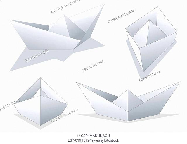 Paper ships - 4 isolated images
