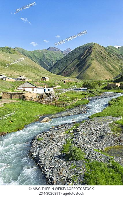 Settlement along a mountain river, Naryn gorge, Naryn Region, Kyrgyzstan