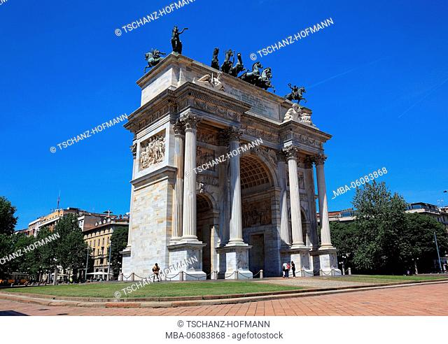 Italy, Milan (city), Arco della Pace, Arco della Pace in the Parco Sempione (castle ground) of the Castello Sforzesco