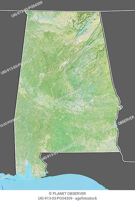 Relief map of the State of Alabama, United States. This image was compiled from data acquired by LANDSAT 5 & 7 satellites combined with elevation data