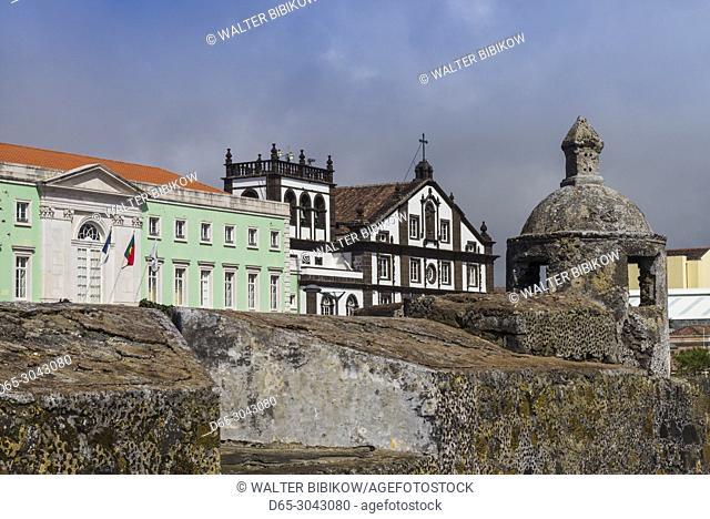Portugal, Azores, Sao Miguel Island, Ponta Delgada, Forte Sao Bras fort, view towards the Praca 5 Outubro square