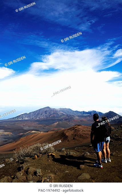 Hawaii, Maui, Haleakala National Park, Haleakala Crater With Hikers