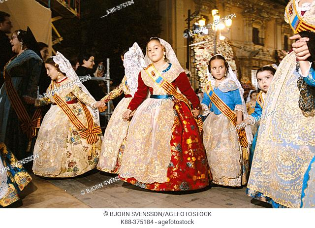 Falleras' (girls in traditional costumes) during the 'fallas' festival, 2004. Valencia. Spain