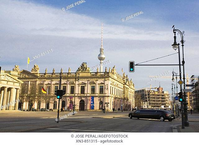 Avenue in Berlin, on background Television Tower Berlin, Germany