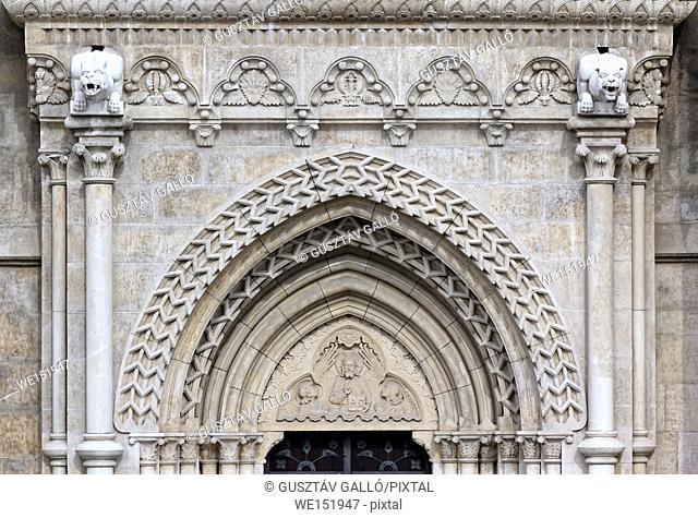 Budapest, Hungary, Buda Castle, Matthias church door ornament
