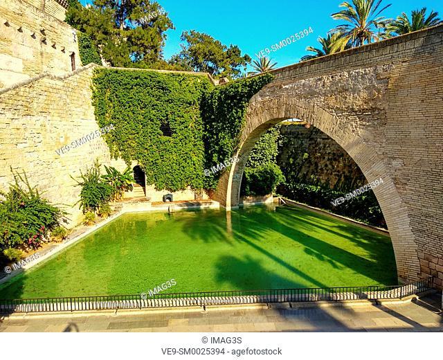 Drassana arch and lake of the swan, Almudaina Roral Palace, Palma de Mallorca, Spain