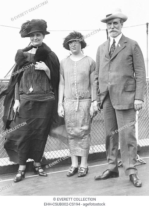 Secretary of State Charles Evans Hughes leaving for Europe on July 12, 1924. He would meet with European WW1 Allies negotiate the Dawes Plan to restructure the...