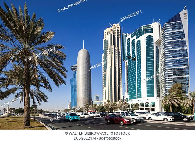 Qatar, Doha, Doha Bay, West Bay Skyscrapers, morning