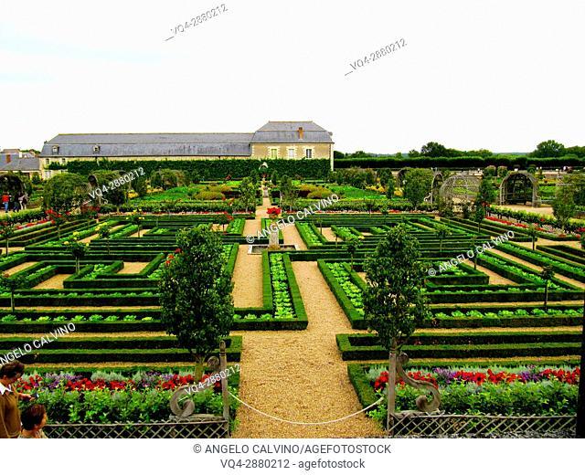 Villandry, Castle and gardens, Château de Villandry, Indre et Loire,Touraine, Loire Valley, UNESCO World Heritage Site, France.