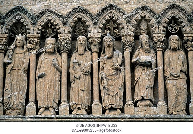 Saints and dignitaries, reliefs above the entrance to the Cathedral of Ciudad Rodrigo (12th-14th century), Castile and Leon, Spain