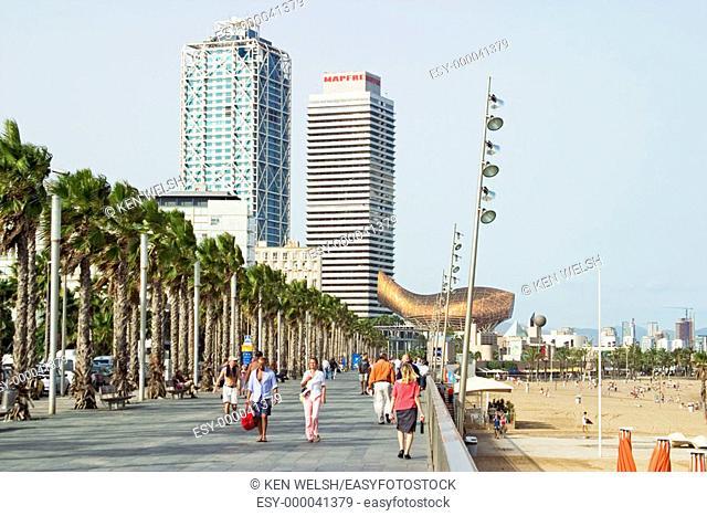 Barceloneta beach front. Barcelona. Spain