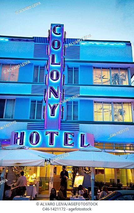 Colony Hotel, Ocean Drive, South Beach, Art deco district, Miami beach, Florida, USA