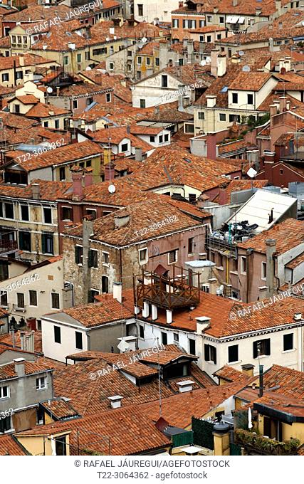 Venice (Italy). Housing of the city of Venice from the Campanile of St. Mark's Square
