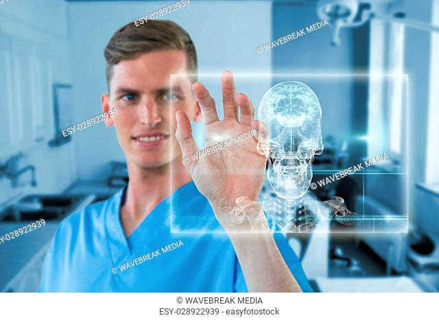 Composite image of happy male nurse touching invisible screen 3d