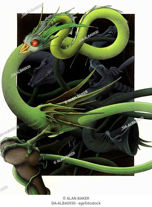 Fantasy image of green snake dragon with bird head