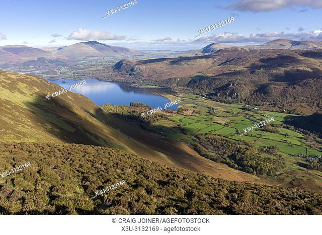 Borrowdale valley from Maiden Moor in the Lake District National Park, Cumbria, England