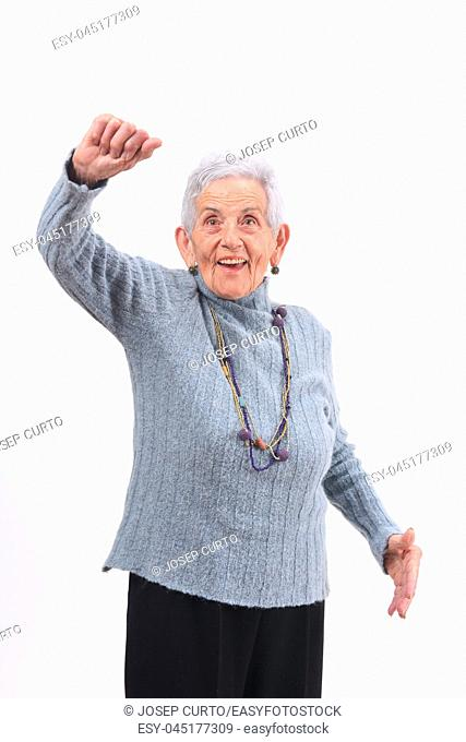 woman with arm up on white background