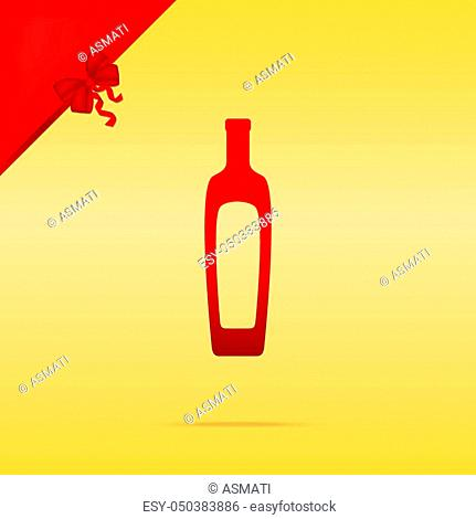 Olive oil bottle sign. Cristmas design red icon on gold background