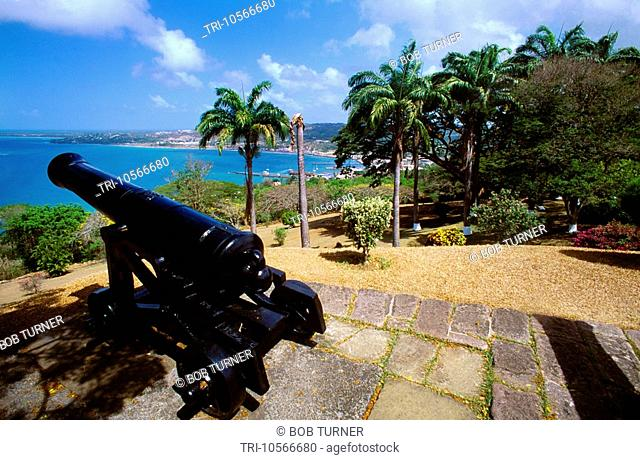 Scarborough Tobago Trinidad Fort King George with Cannon