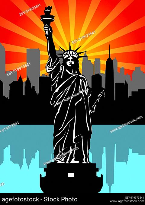Statue of Liberty and New York City Illustration