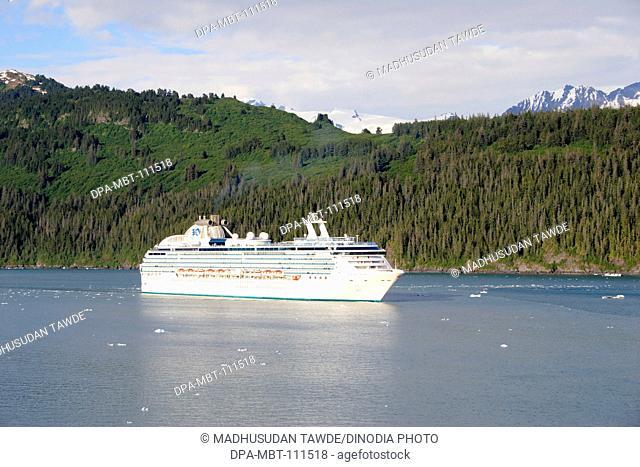 Island princess cruise ship of princess cruise line near Hubbard glacier; The longest tidewater glacier in Alaska ; Saint Elias  national park ; Disenchantment...