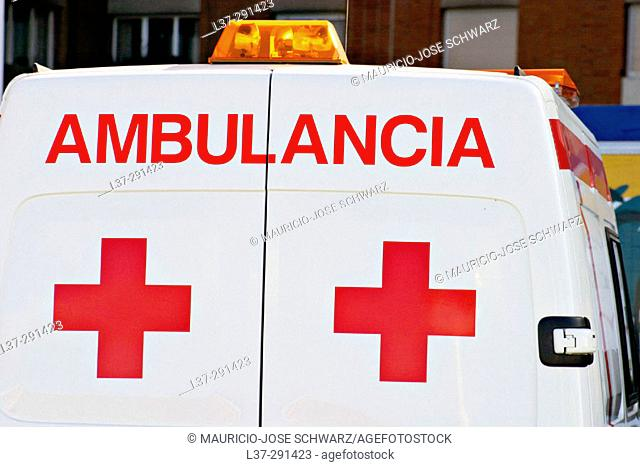 Ambulance from Spanish-speaking country seen from behind