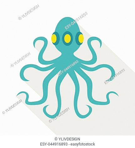 Octopus icon. Flat illustration of octopus, vector icon for web