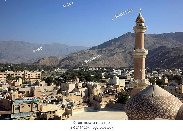 View from the fort over the town, the mosque and the palm gardens of Nizwa, Oman, Arabian Peninsula, Middle East, Asia