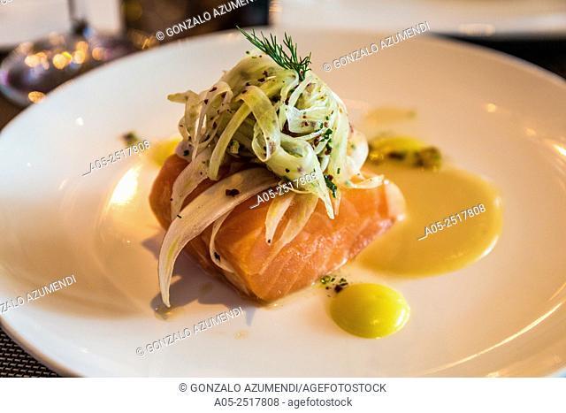 Tahitian Vanilla Confit Salmon.Tahitian Vanilla Confit of Scottish Salmon, Roasted Garlic Purée, Fennel, Orange & Black Olive Salad.Bacchanalia