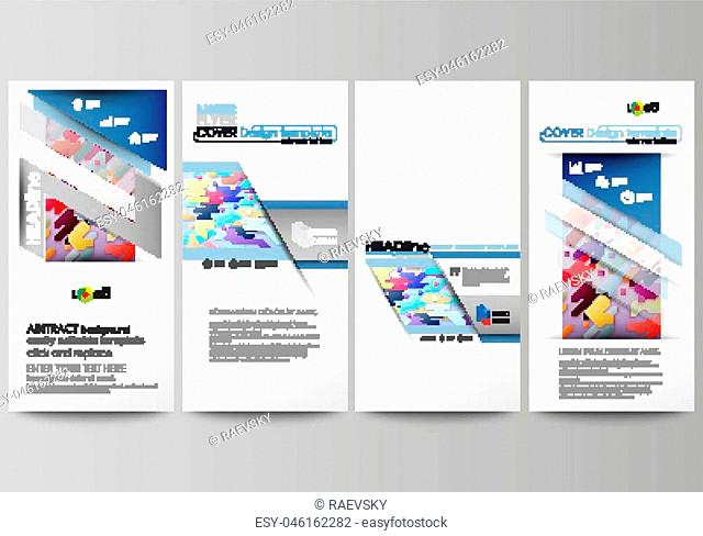 Flyers set, modern banners. Business templates. Cover design template, easy editable abstract vector layouts. Bright color lines and dots