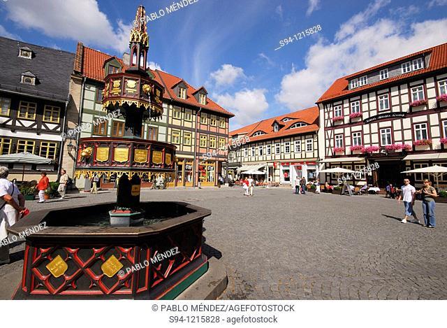 Fountain in markt square in Wernigerode, Saxony-Anhalt, Germany