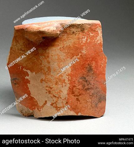 Vase fragment. Period: Early Minoan II; Culture: Minoan; Medium: Terracotta; Dimensions: 4 9/16 x 4 3/4 x 3/8 in. (11.5 x 12 x 0