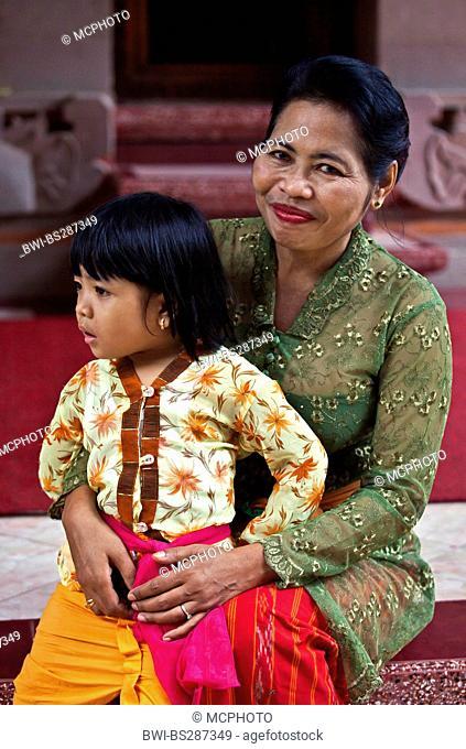 grandmother with granddaughter, Indonesia, Bali, Ubud