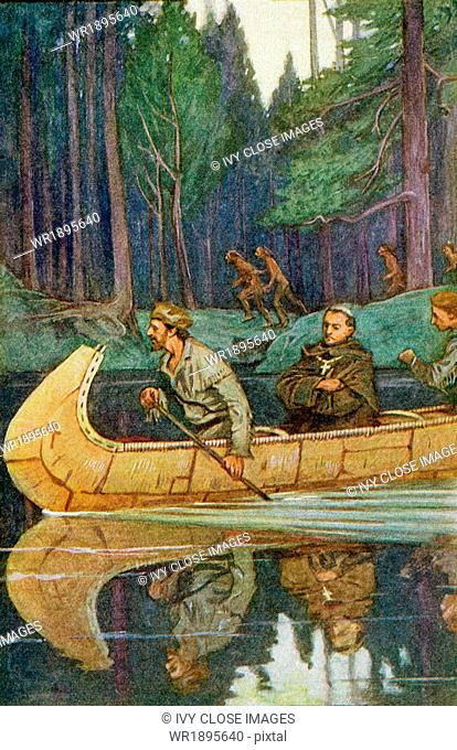 Father Louis Hennepin (middle person in canoe) was a Catholic priest and a Franciscan missionary who was also an explorer of the interior of North America