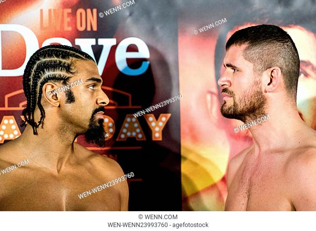 Boxers David Haye and Arnold Gjerjaj weigh-in at the 'Ali Exhibition' ahead of their fight tomorrow, Saturday the 21st of May. Haye weighed in at 16