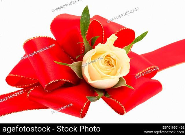 Rote Schleife mit Rose