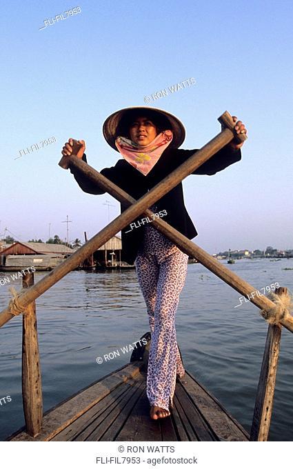 Rowing on Hau Giang Bassac River, Chau Doc, Vietnam