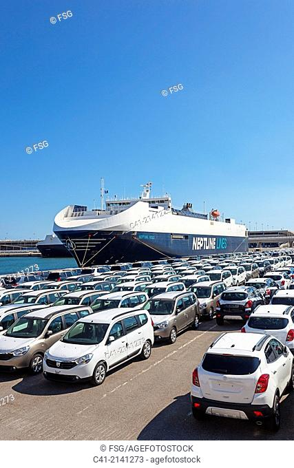 Cars waiting for board. Port of Barcelona. Barcelona. Spain