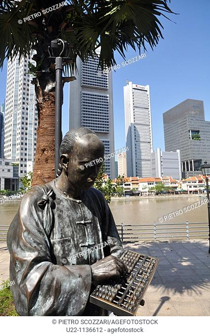 Singapore: sculpture 'From Chettiars To Financiers' along the Singapore River's bank