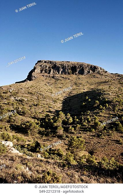 Montcabrer mountain 1390 meters high. View from the Sierra Mariola natural park, fields, Alicante province, Comunidad Valenciana, Spain