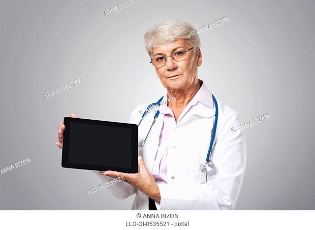 Serious female doctor with bad news. Debica, Poland