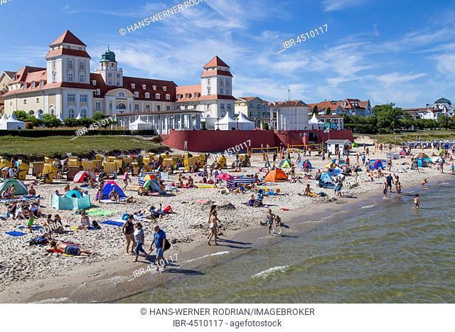 Beach with bathers in front of the spa hotel, Binz, Mecklenburg-Western Pomerania, Germany