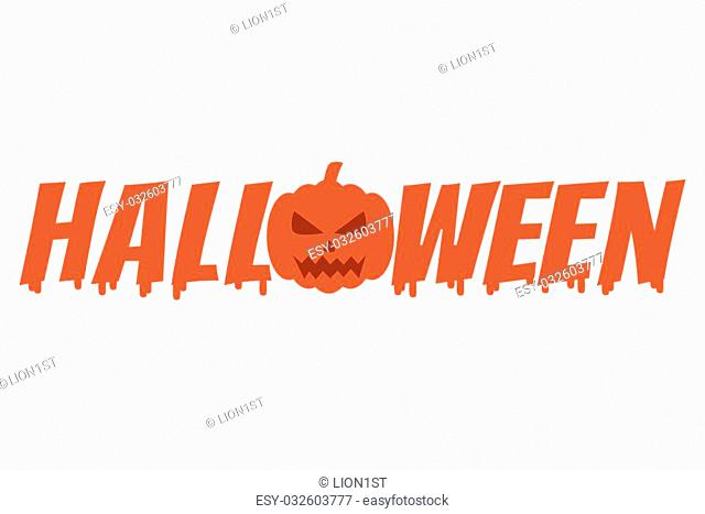 Melted Halloween word with pumpkin, Vector Illustration