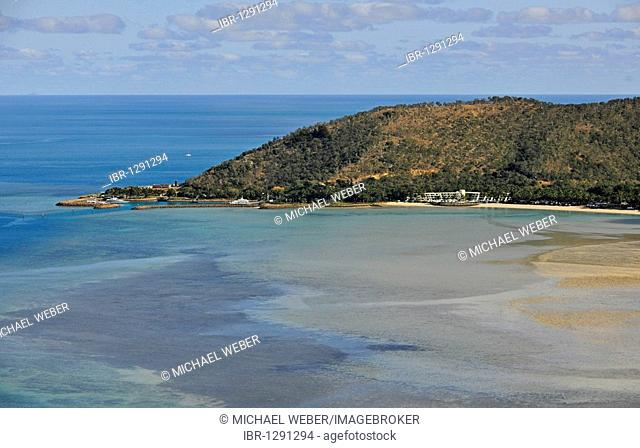 Aerial view of a luxury hotel resort, Hayman Island, Whitsunday Islands National Park, Queensland, Australia