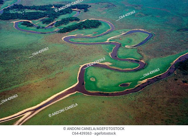 Winding river at Moxos plains. Amazonia. Bolivia