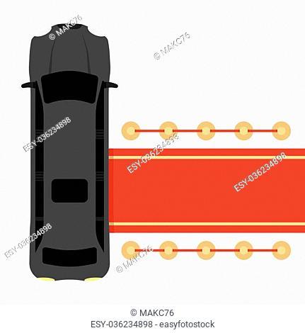 Posh black limousine top view parked near red carpet vector illustration