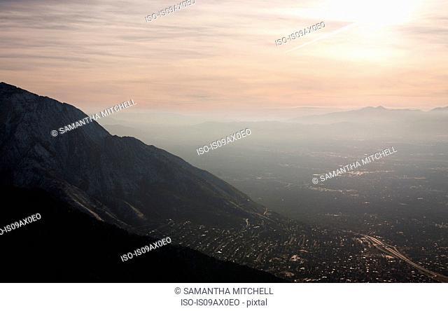 View of Salt Lake City from Grandeur Peak, Utah, USA